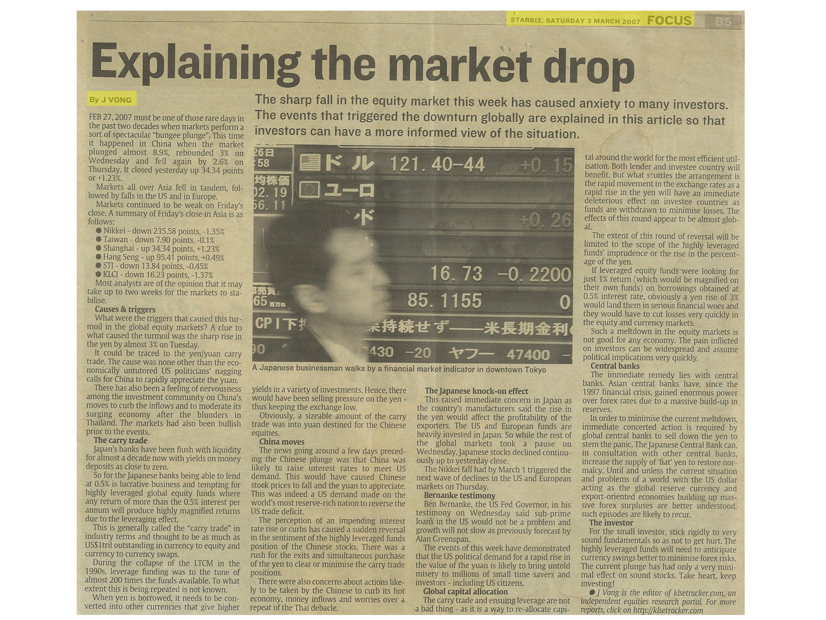 Media Coverage 2007 03 03 Explaining the Market Drop 1