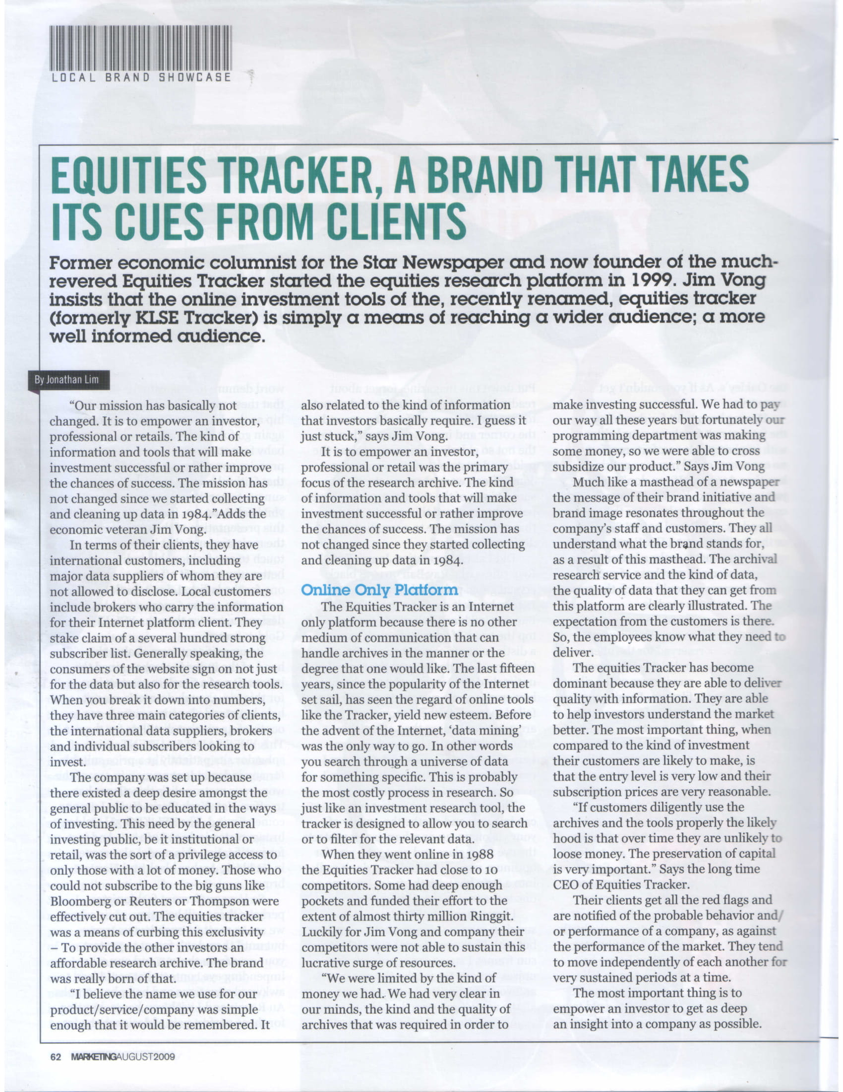 Media Coverage 2009 08 Marketing EquitiesTracker A Brand That Takes Its Cues From Clients.pdf AUG 2009 1