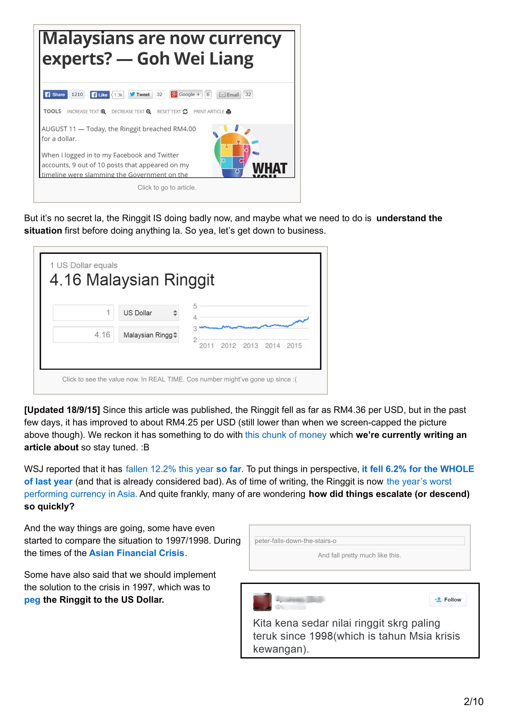 Media Coverage cilisos.my 4 reasons why pegging the Ringgit might not work like 1997 Update 9.pdf 23RD AUG 2015 02
