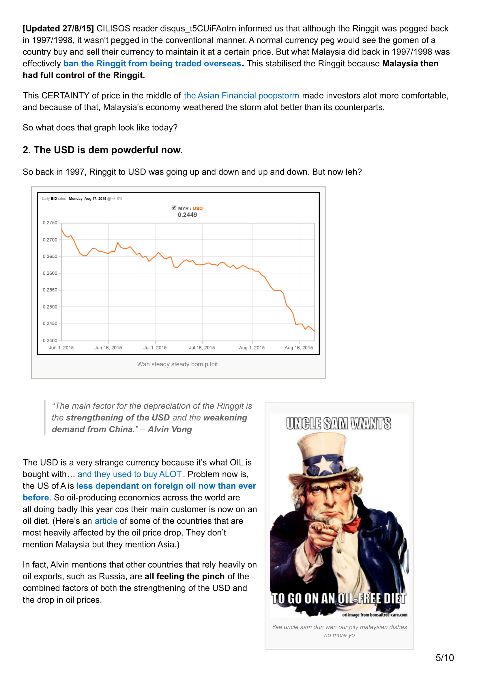 Media Coverage cilisos.my 4 reasons why pegging the Ringgit might not work like 1997 Update 9.pdf 23RD AUG 2015 05